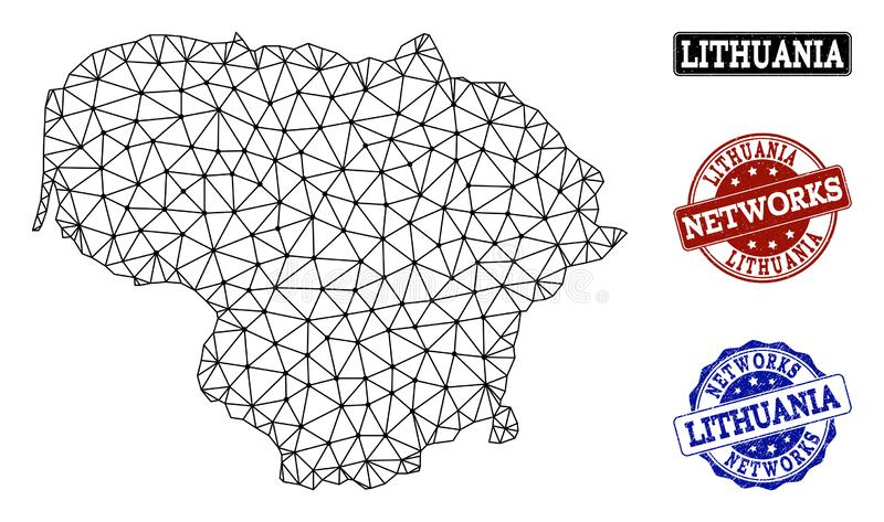 Poligonalnej sieci siatki Wektorowa mapa Lithuania i sieci Grunge znaczki ilustracja wektor