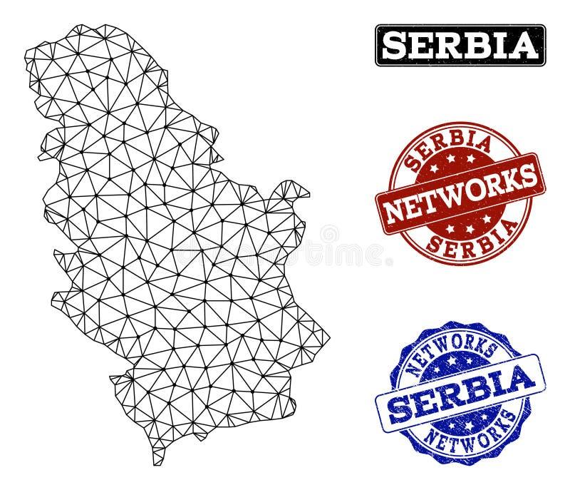Poligonalnej sieci siatki Wektorowa mapa Serbia i sieci Grunge znaczki ilustracji