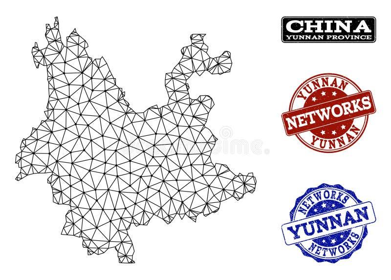 Poligonalnej sieci siatki Wektorowa mapa Yunnan sieci i prowincji Grunge znaczki royalty ilustracja
