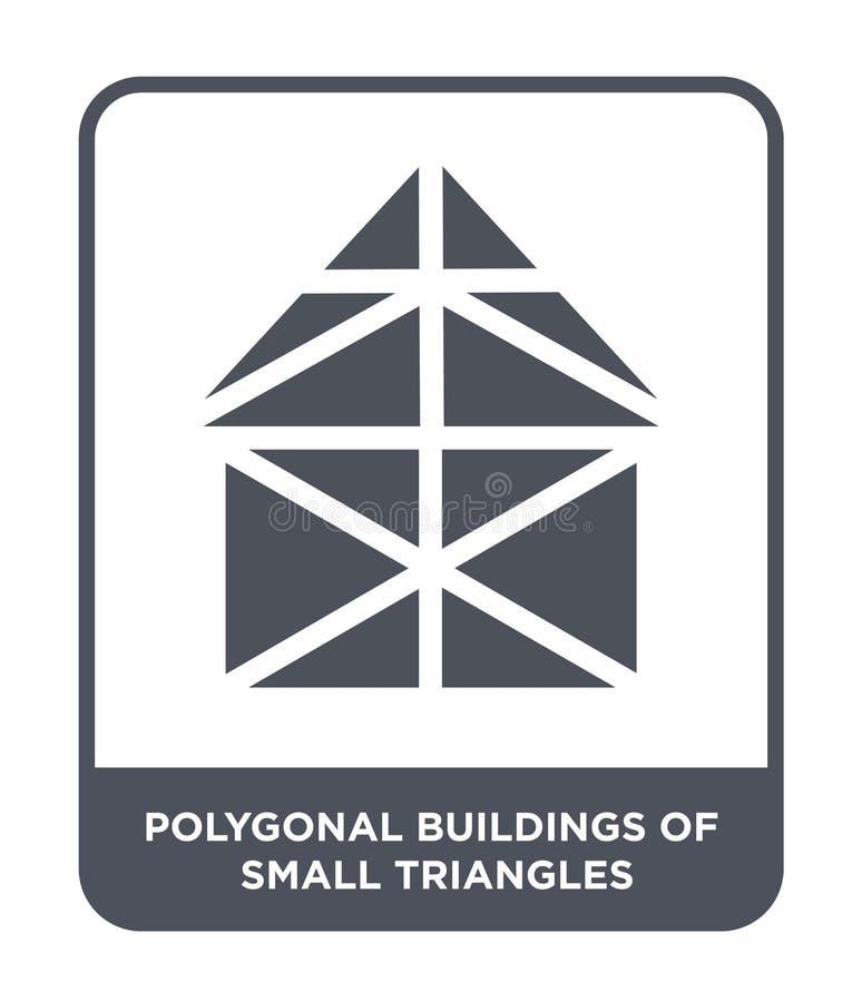 poligonalni budynki mała trójbok ikona w modnym projekcie projektują poligonalni budynki mała trójbok ikona odizolowywająca na bi royalty ilustracja