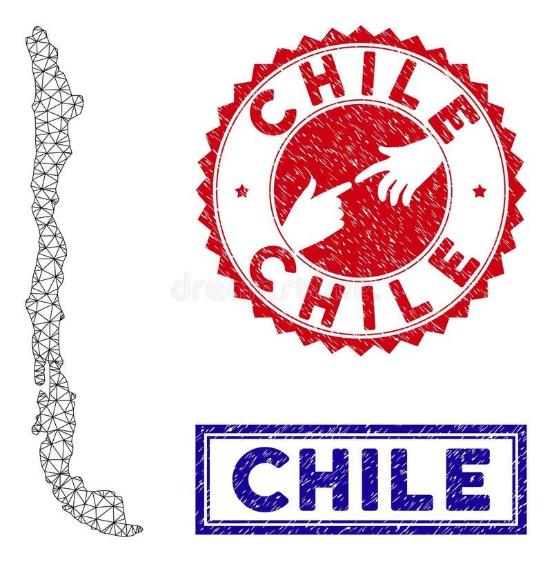 Poligonalni drut ramy Chile Grunge i mapy znaczki ilustracji