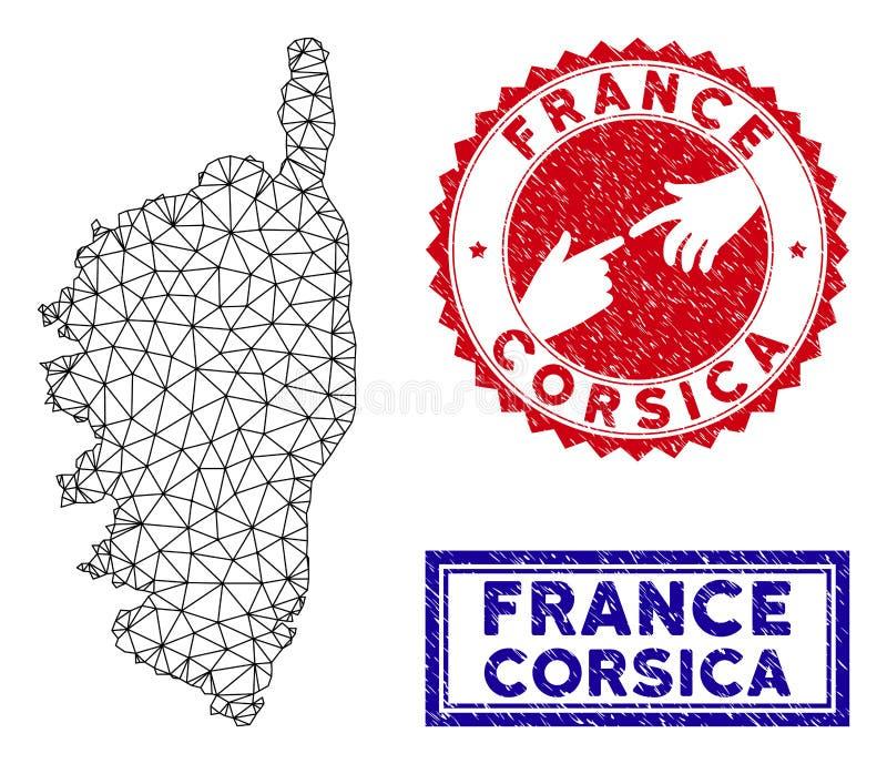 Poligonalni drut ramy Corsica Francja wyspy Grunge i mapy znaczki royalty ilustracja