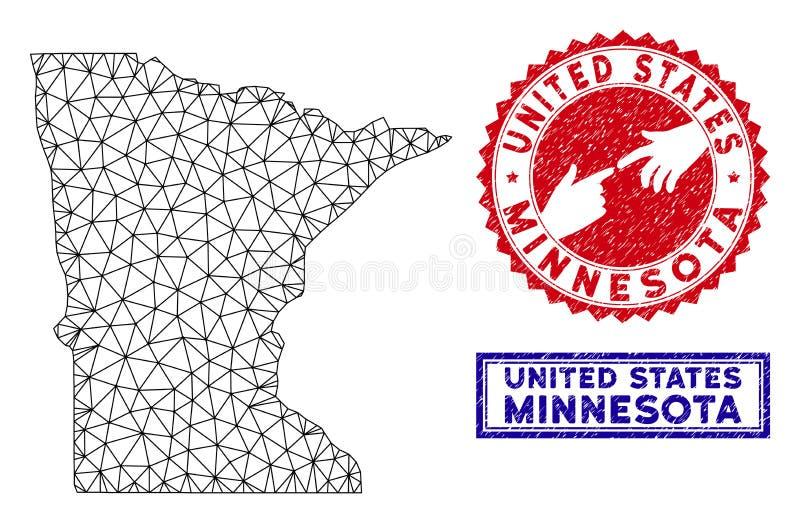 Poligonalni drut ramy Minnestoa stanu Grunge i mapy znaczki ilustracja wektor