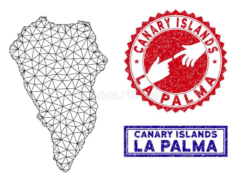 Poligonalni siatka losu angeles Palmy wyspy Grunge i mapy znaczki ilustracja wektor