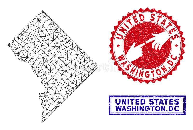 Poligonalni siatki washington dc Grunge i mapy znaczki royalty ilustracja