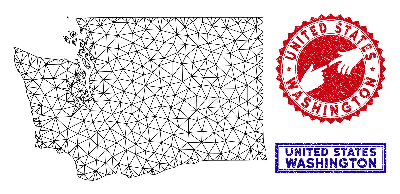 Poligonalni sieci stan washington Grunge i mapy znaczki ilustracja wektor