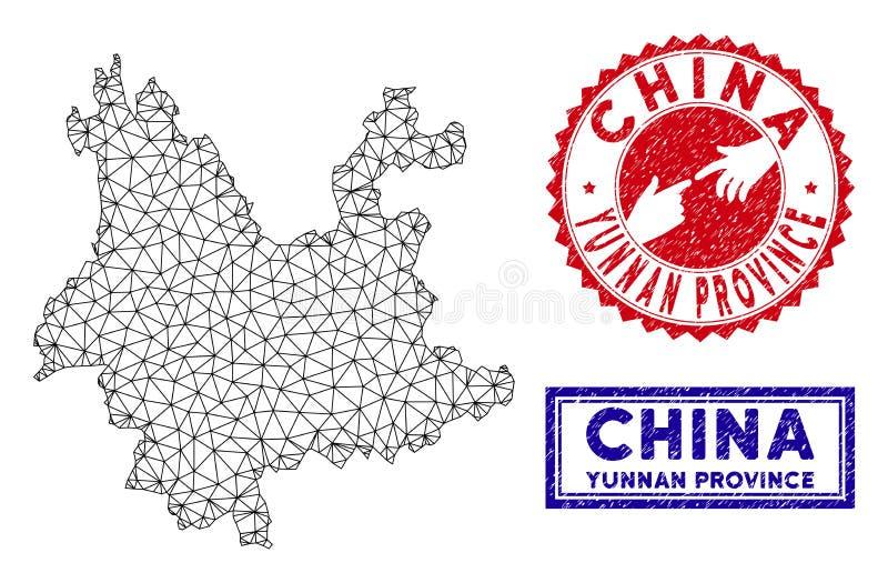 Poligonalni sieci Yunnan prowincji Grunge i mapy znaczki royalty ilustracja