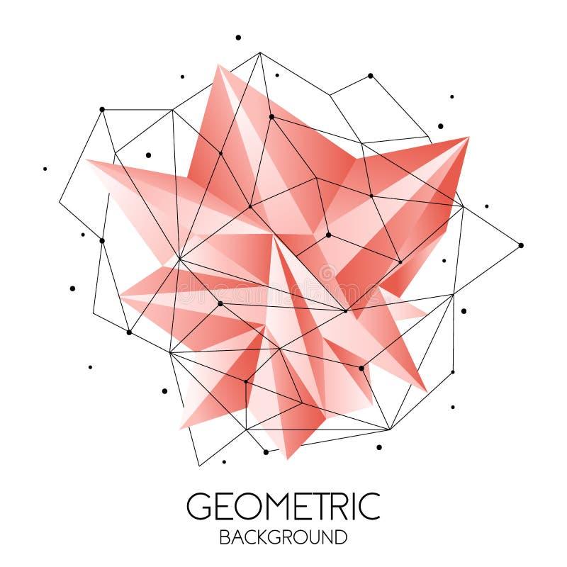 Poligonalny abstrakcjonistyczny futurystyczny szablon, niski poli- znak na białym tle Wektor linie, kropki i trójboków kształty, ilustracja wektor