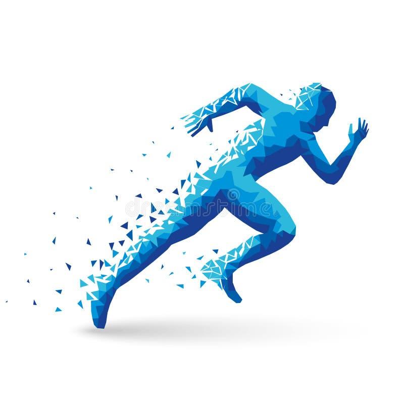 Poligonalny atleta szybkobiegacz, początki Błękitni trójboki rozpraszają Na białym tle z cieniem jest twój ilustracja wektor