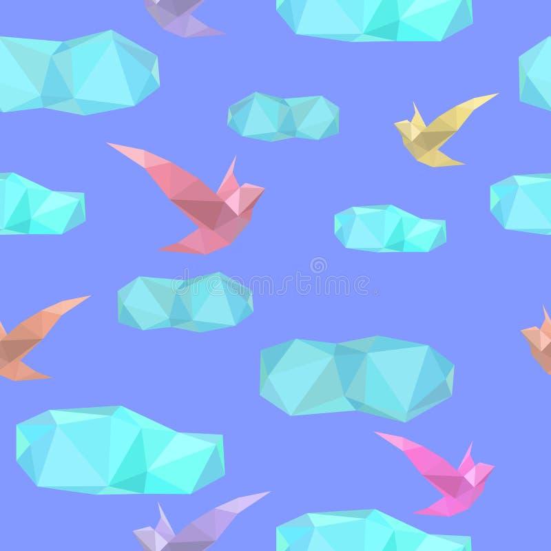 Poligonalny bezszwowy wzór z ptakami i chmurami ilustracja wektor