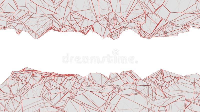 Poligonalny cavern 3d rendering ilustracja wektor
