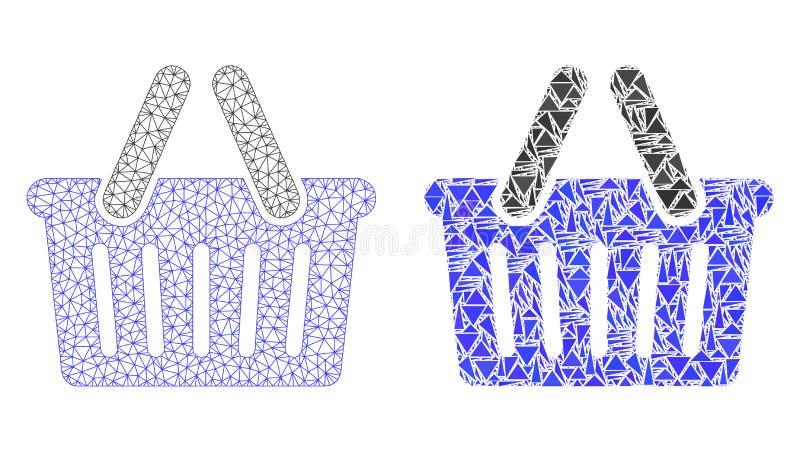 Poligonalny 2D siatka zakupy kosz i mozaiki ikona royalty ilustracja