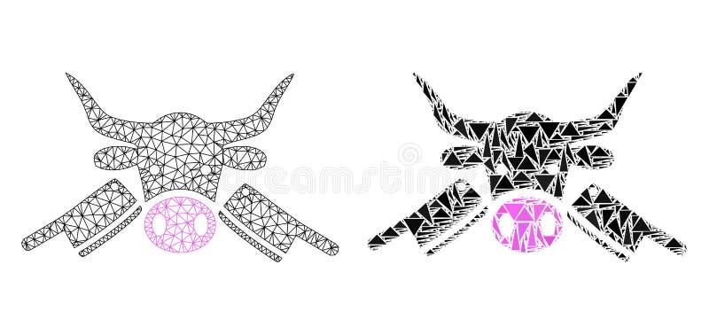Poligonalny 2D siatki Butchery i mozaiki ikona royalty ilustracja