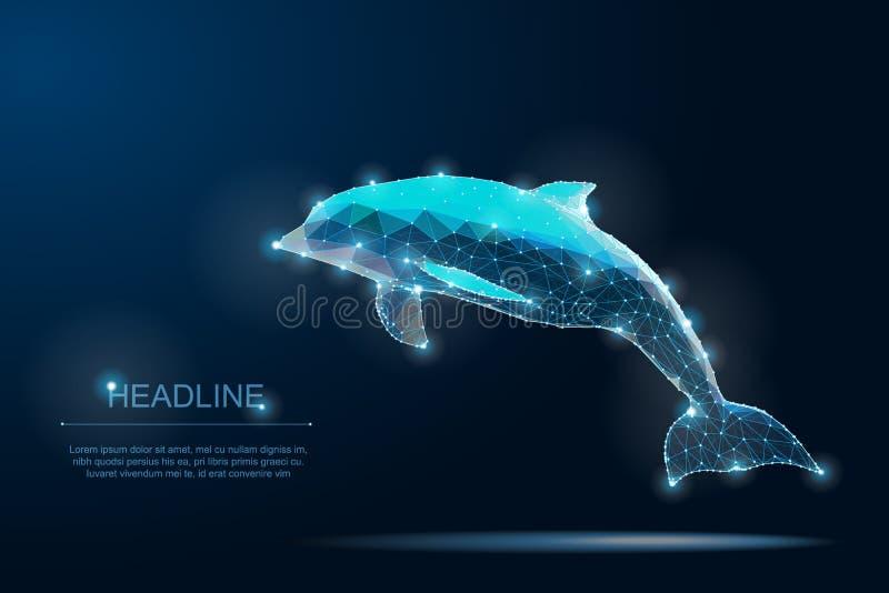 Poligonalny delfin uratuje planety Oceanu ?ycie czysta woda przyroda royalty ilustracja
