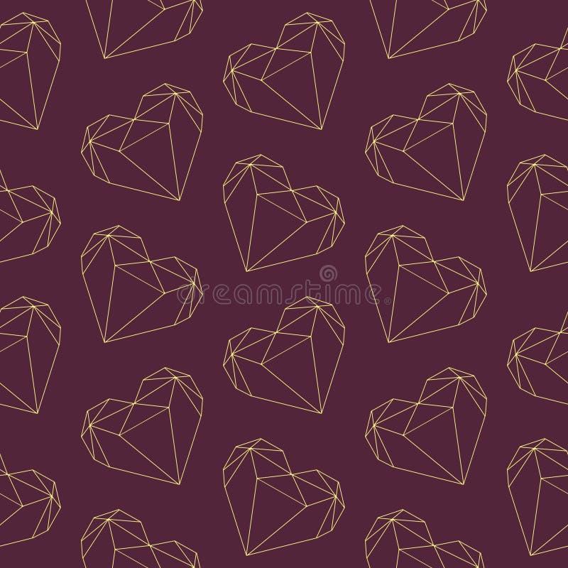 Poligonalny diamentowy kształta valentine serce zarysowywa bezszwowego ilustracja wzór na ciemnym Burgundy tle ilustracja wektor