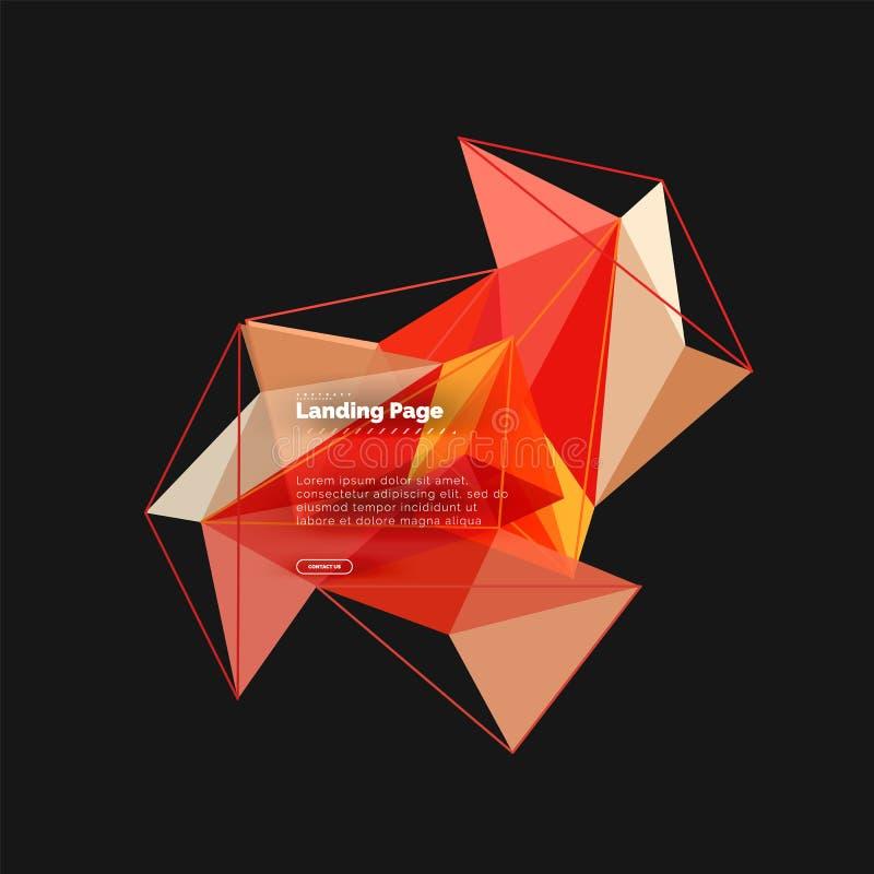 Poligonalny geometryczny projekt, abstrakcjonistyczny kształt robić trójboki, modny tło royalty ilustracja