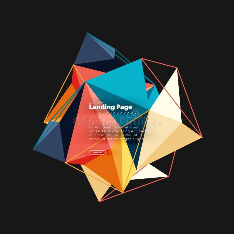 Poligonalny geometryczny projekt, abstrakcjonistyczny kształt robić trójboki, modny tło ilustracja wektor