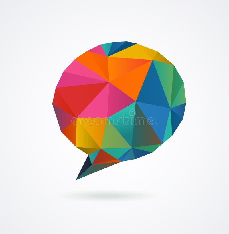 Poligonalny geometryczny, wektorowy 3D mowy bąbel, ilustracja wektor
