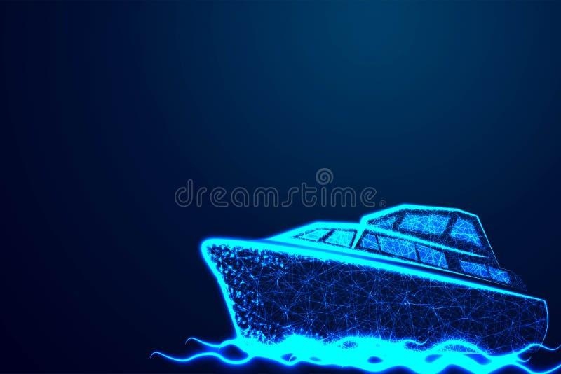 poligonalny morski statek lub łódź z teksturą gwiaździsty niebo Abstrakcjonistycznego wireframe poli-, wektorowa ilustracja niska royalty ilustracja