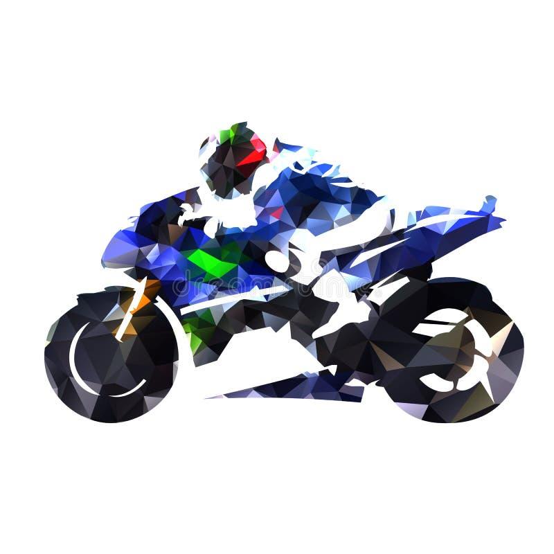 Poligonalny motocyklu ścigać się Błękitny drogowy motocykl z jeźdzem abs ilustracji