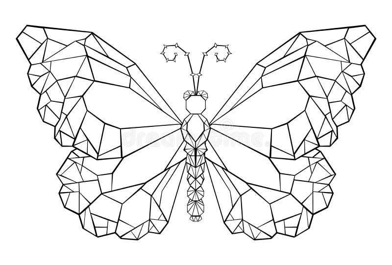 Poligonalny motyli monarchiczny Czarny tatuażu motyl ilustracji