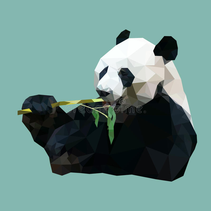Poligonalny pandy łasowania bambus, wieloboka zwierzę, wektor royalty ilustracja