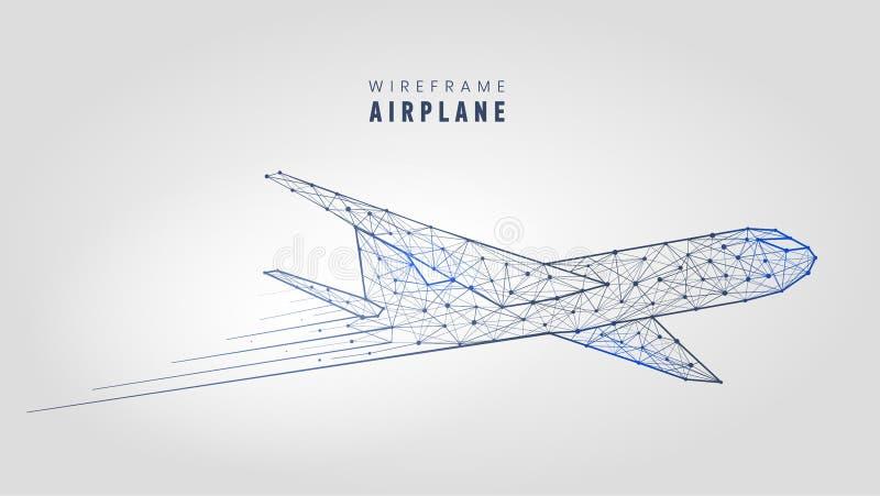 Poligonalny samolot, wireframe struktura Szablonu niski poli- samolot na szarej tło wektoru ilustraci royalty ilustracja