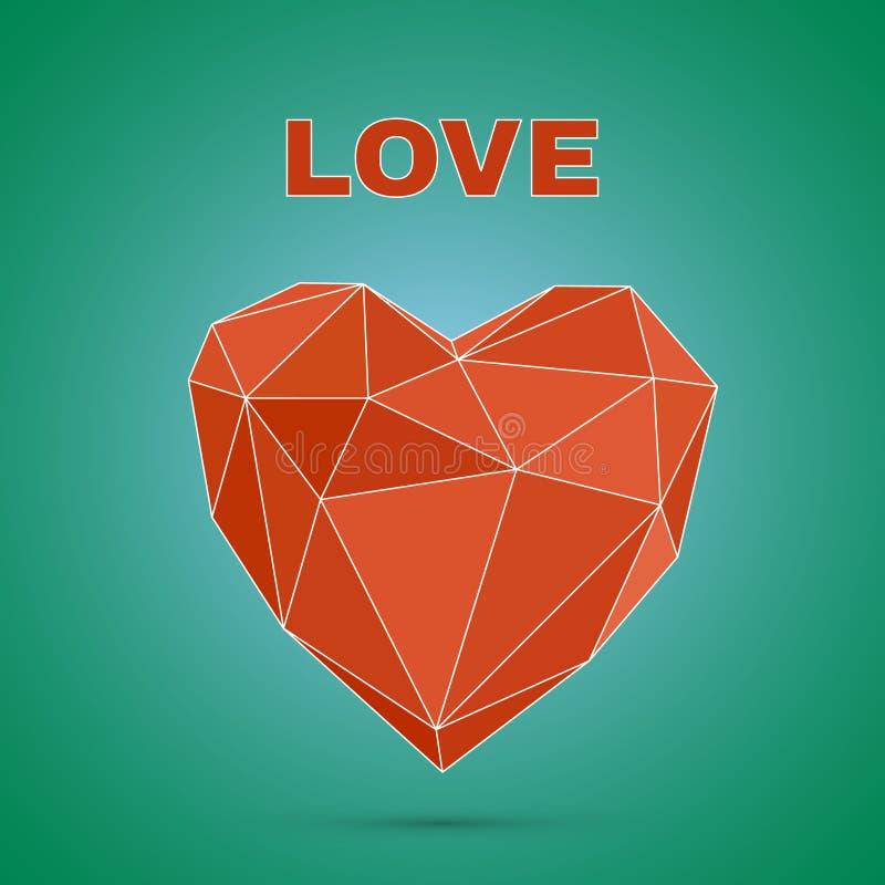 Poligonalny serce Niski poli-, valentines dnia wektor royalty ilustracja