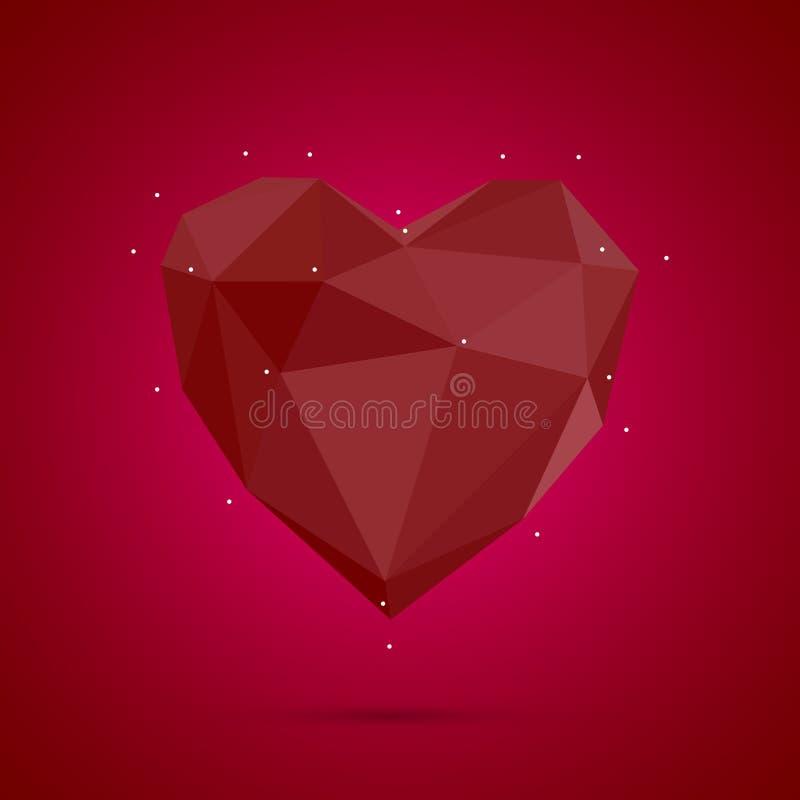 Poligonalny serce Niski poli-, valentines dnia wektor ilustracja wektor