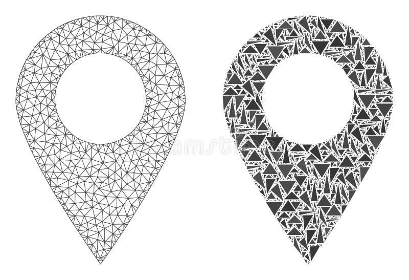 Poligonalny sieci siatki mapy markier i mozaiki ikona royalty ilustracja