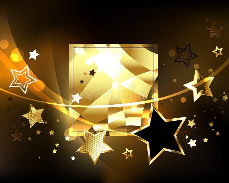 Poligonalny sztandar z złotymi gwiazdami royalty ilustracja