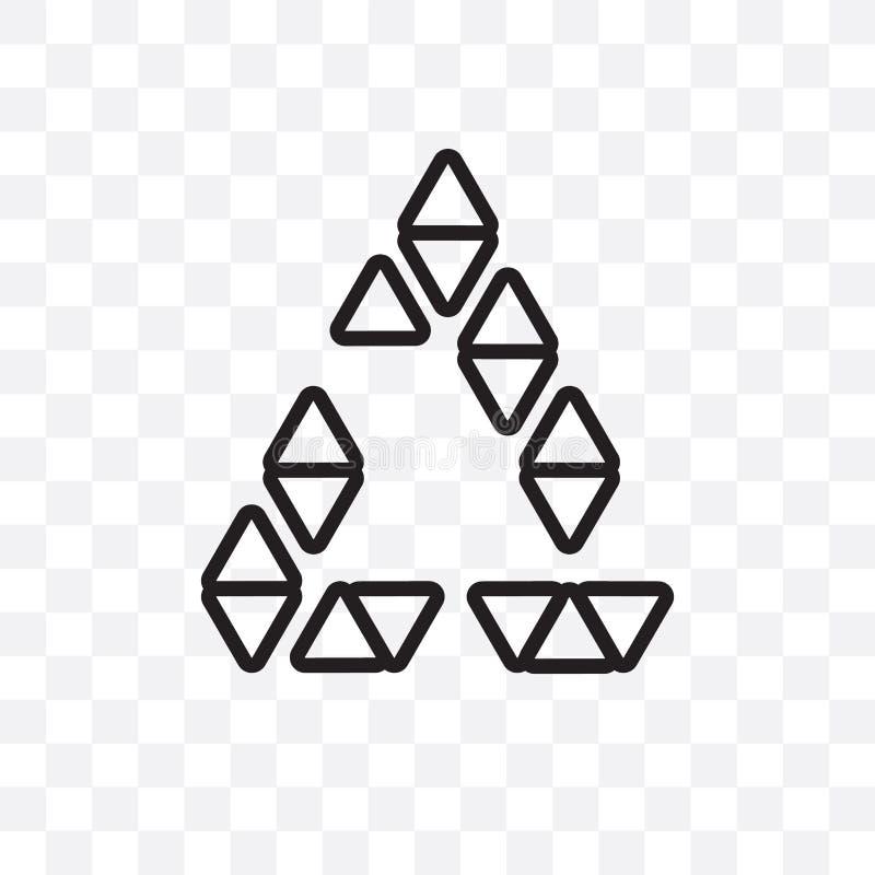 Poligonalny trójgraniasty przetwarza wektorową liniową ikonę odizolowywającą na przejrzystym tle, Poligonalny trójgraniasty przet ilustracji