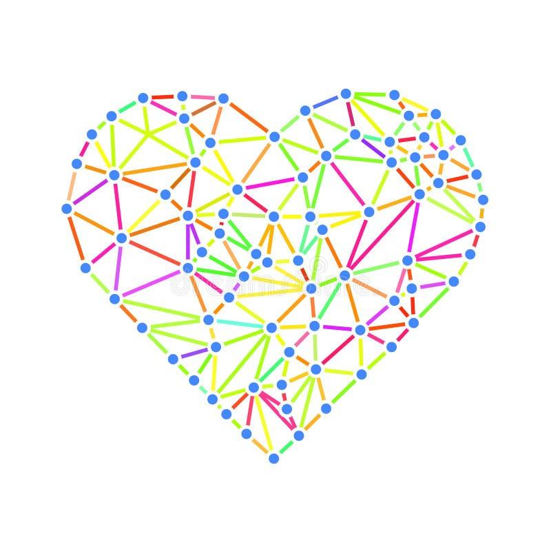 Poligonalny wireframe serce, valentines dnia wektor ilustracji