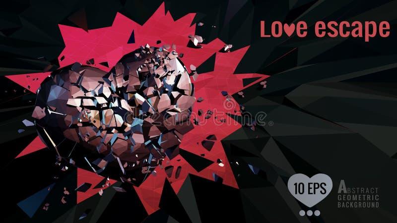Poligonalny złamane serce poruszający na zmroku BG ilustracja wektor