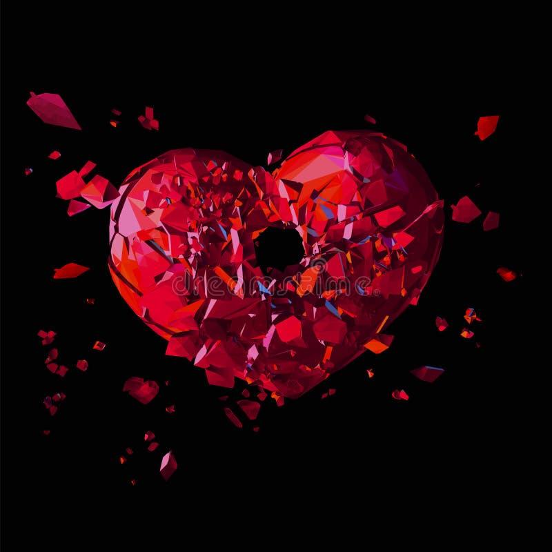 Poligonalny złamane serce z strzał dziurą na zmroku BG ilustracji