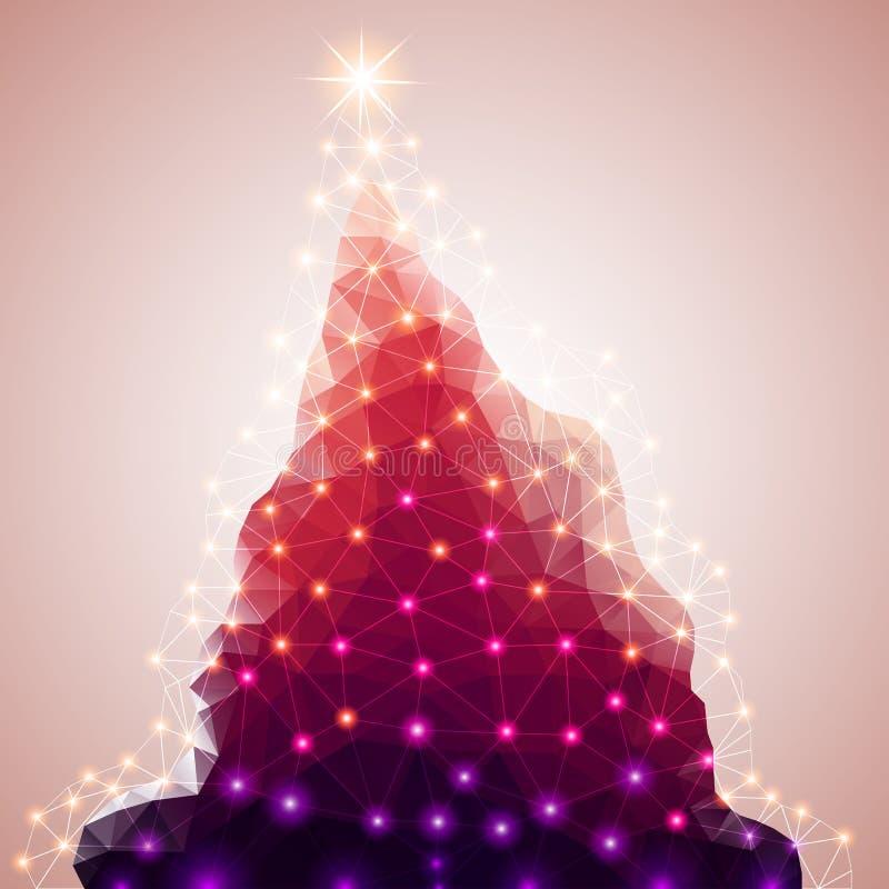poligono astratto Albero di Natale Illustrazione di vettore illustrazione vettoriale