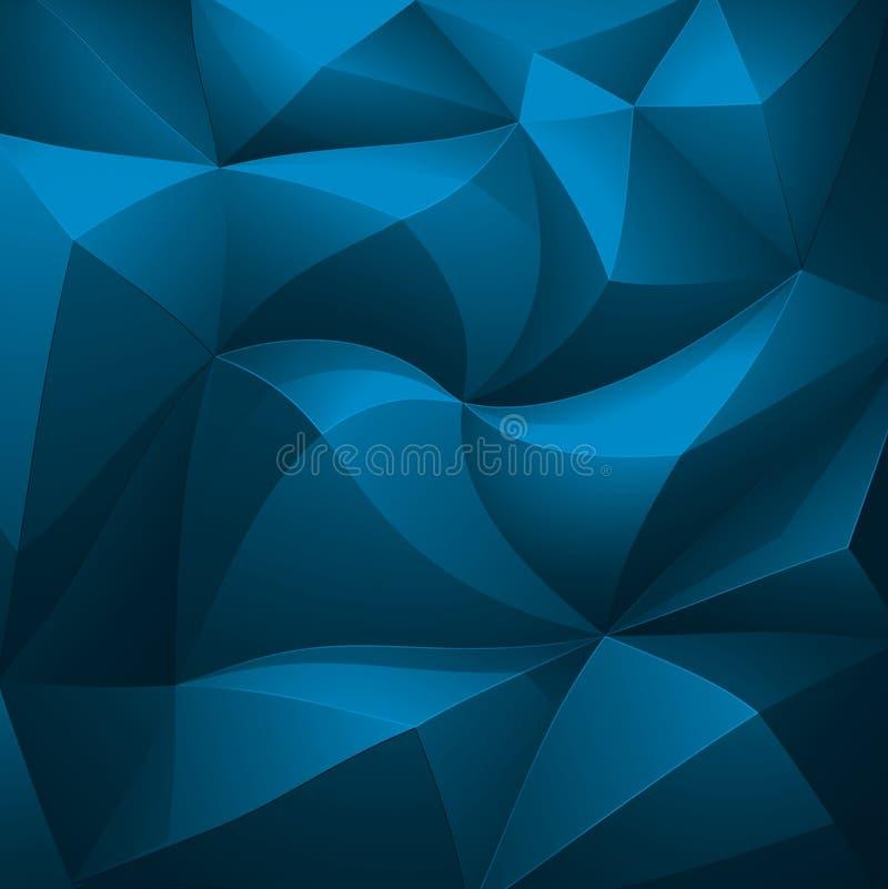 Poligono, estratto, blu, scuro, fondo del triengle fotografia stock