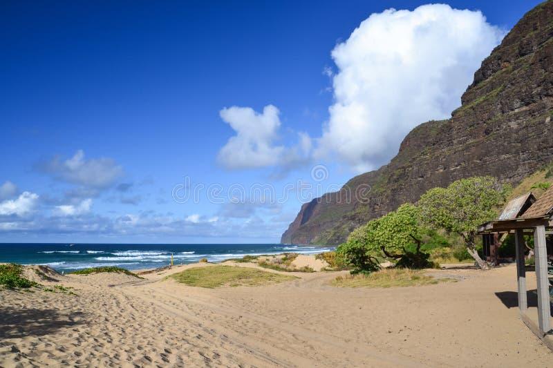Polihale-Strand-Nationalpark - Kauai, Hawaii, USA lizenzfreies stockfoto