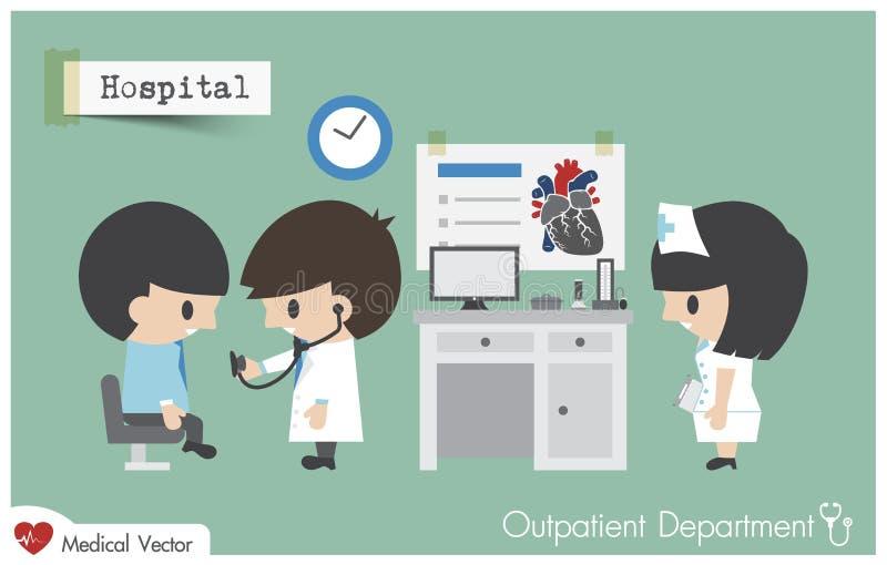 Poliklinikpatientavdelning OPD i sjukhus Bruksstetoskop för doktor Cardiologist royaltyfri illustrationer