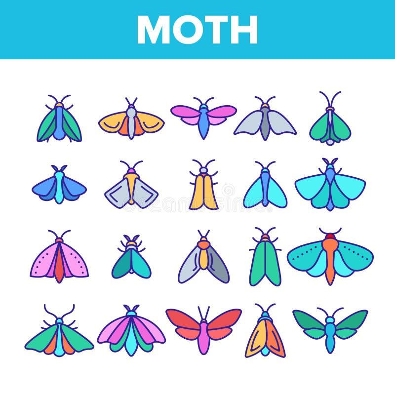 Polilla del color, sistema de los iconos de Collection Vector Linear del entomólogo de los insectos libre illustration