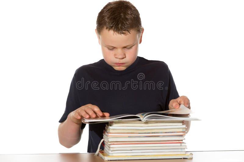 Polilla que lee una pila de libros imagenes de archivo