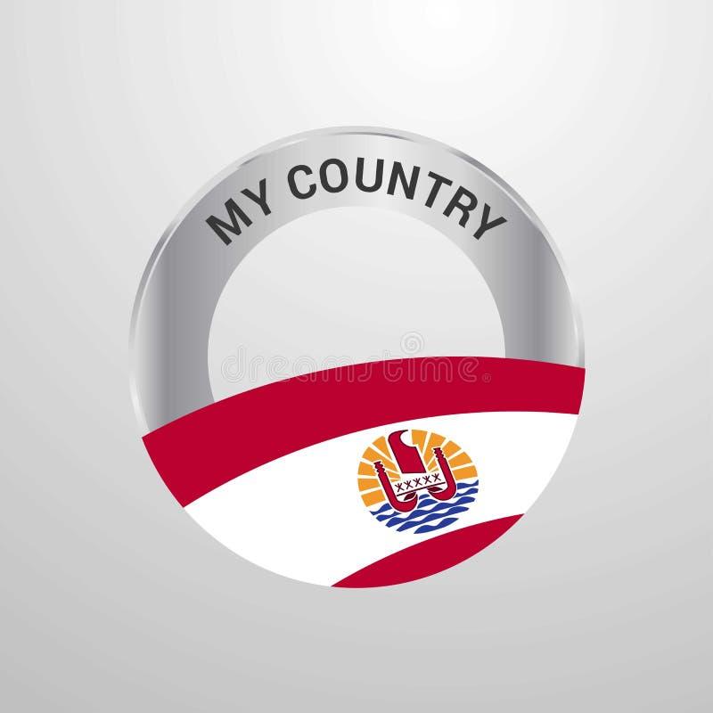 Polinesia francese il mio distintivo della bandiera di paese royalty illustrazione gratis