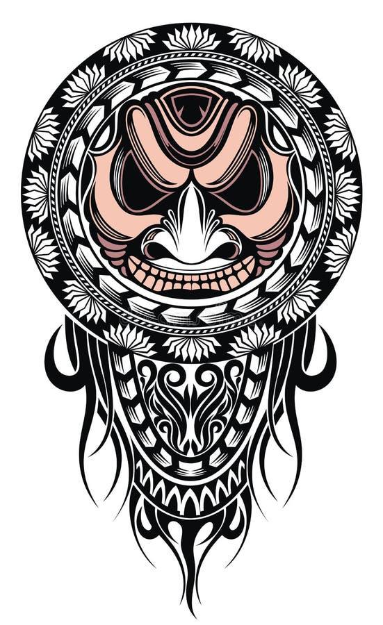 Polinezyjska tatua?u projekta maska Przestraszy? maski w Polinezyjskim rodzimym ornamencie ilustracji