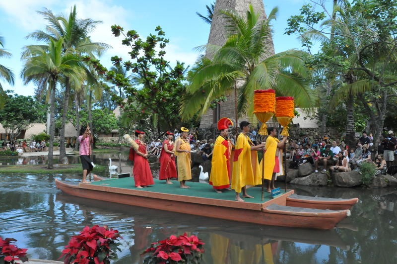 Polinezyjski Kulturalny centrum w Oahu, Hawaje obrazy stock