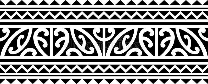 Polinezyjski tatuażu rękawa wzoru wektor, samoan nakreślenia przedramię i nożny projekt maoryjski, matrycujemy bransoletki armban ilustracja wektor