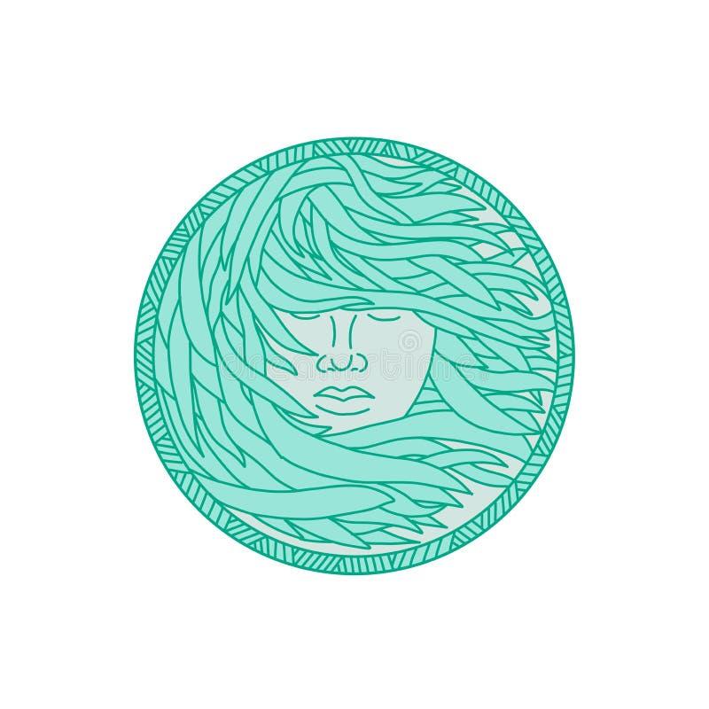 Polinezyjskiego kobiety Kelp Dennego Włosianego okręgu Mono linia royalty ilustracja