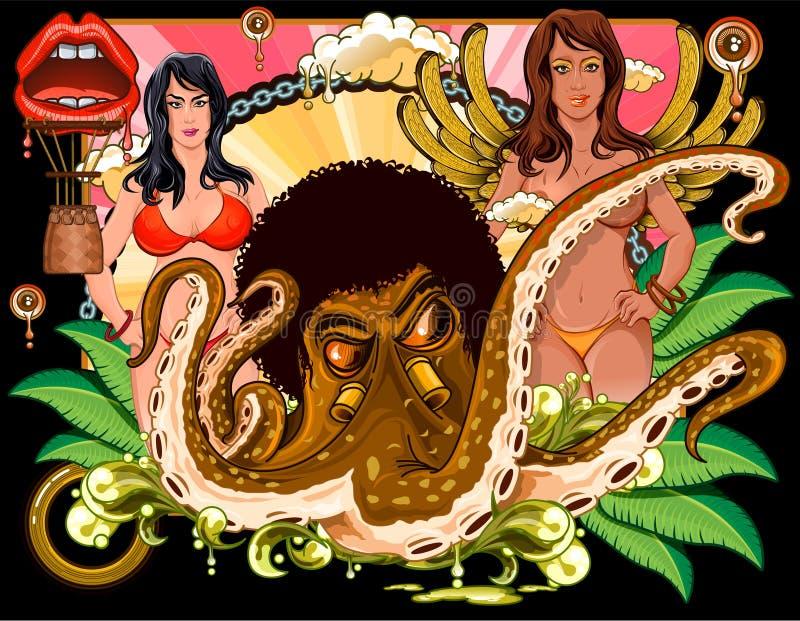 Polipo con l'afro e ragazze alla parte posteriore illustrazione vettoriale