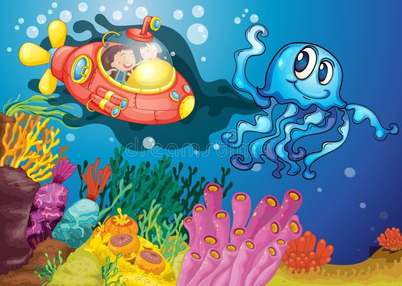 Polipo e bambini in sommergibile illustrazione di stock
