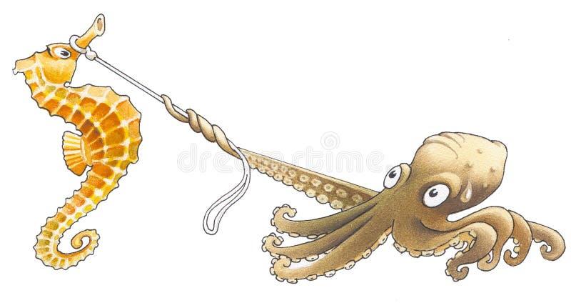 Polipo e sea-horse illustrazione di stock