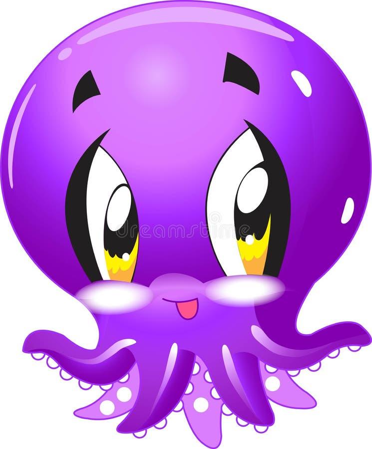 Polipo - raccolta sveglia del fumetto di vita di mare nell'ambito dei caratteri animali dell'acqua illustrazione di stock